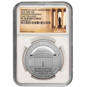 2015 Niue Silver Jefferson Memorial 1oz PF70 UC ER NGC