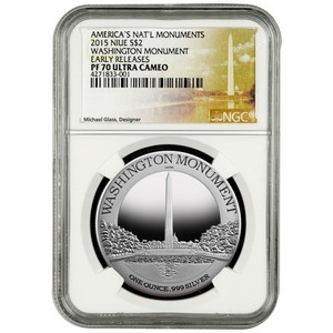 2015 Niue Silver Washington Monument 1oz PF70 UC ER NGC