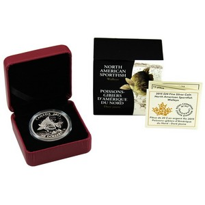 2015 Canada Silver North American Sportfish Walleye 1oz Proof in OGP