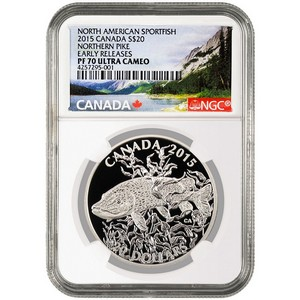 2015 Canada Silver North American Sportfish Northern Pike 1oz PF70 UC ER NGC Fish Label