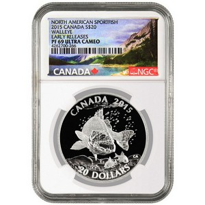 2015 Canada Silver North American Sportfish Walleye 1oz PF69 UC ER NGC Fish Label
