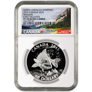2015 Canada Silver North American Sportfish Walleye 1oz PF70 UC ER NGC Fish Label
