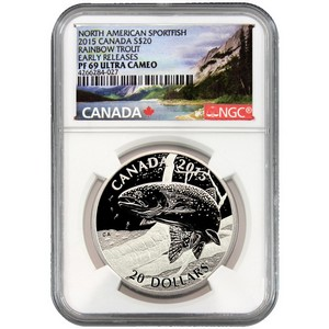2015 Canada Silver North American Sportfish Rainbow Trout 1oz PF69 UC ER NGC Fish Label