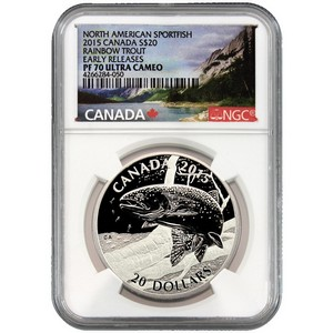 2015 Canada Silver North American Sportfish Rainbow Trout 1oz PF70 UC ER NGC Fish Label