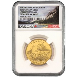 2015 Canada Gold North American Sportfish Largemouth Bass 1oz PF70 UC NGC Nature Label