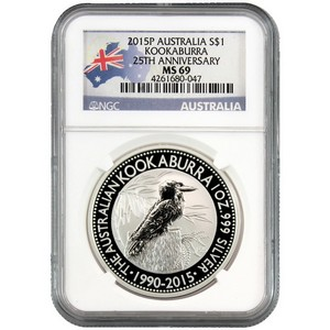 2015 P Australia Silver Kookaburra 1oz MS69 NGC Country Label