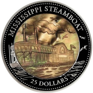 2015 Cook Islands Silver Mississippi Steamboat 5oz Mother of Pearl Inlay Proof in OGP