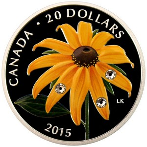 2015 Canada Silver Black-Eyed Susan with Crystal Dewdrops 1oz Colorized Proof in OGP