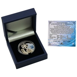 2015 Tokelau Silver Polar Bear Snowflake Bear Series 1oz Color Proof
