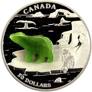2015 Canada Silver Canadian Icons: Polar Bear Jade 1oz Proof with OGP
