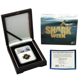 2015 Tristan da Cunha Gold Tiger Shark 8g 1 Pound PF70 UC NGC Discovery Shark Week Label