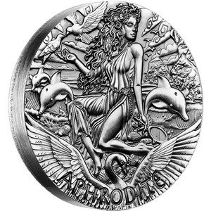 2015 P Australia Silver Goddesses of Olympus Aphrodite 2oz Rimless HR Coin in OGP