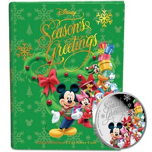 2015 New Zealand Silver Disney Season's Greetings 1/2oz Colorized Proof in OGP