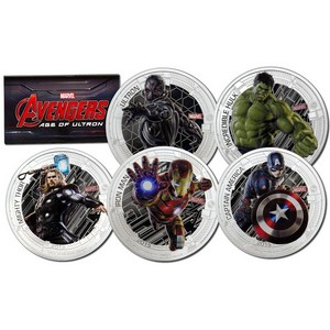 2015 Niue Silver The Avengers: Age of Ultron 5pc 1oz Colorized Proof Set in OGP