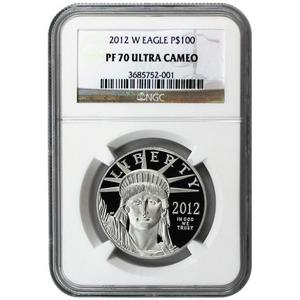 2012 W Platinum American Eagle 1 oz PF70 UC NGC Brown Label
