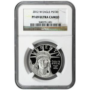2012 W Platinum American Eagle 1 oz PF69 UC NGC Brown Label