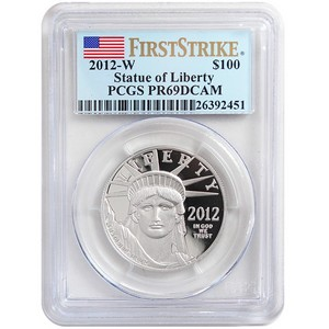 2012 W Platinum American Eagle 1oz PR69 DCAM FS PCGS Flag Label