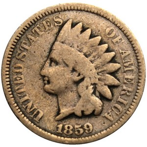 1859 Indian Head Copper-Nickel Laurel Wreath Cent AG/G