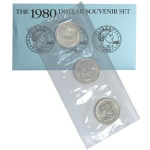 1980 Susan B. Anthony Dollar UNC 3pc Souvenir Set