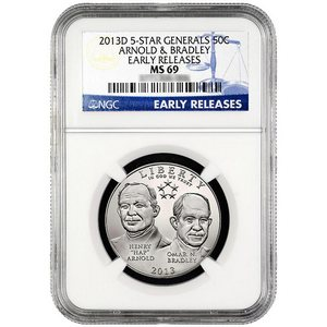 2013 D 5-Star Generals Arnold and Bradley Half Dollar MS69 ER NGC Blue Label