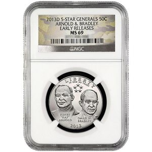 2013 D 5-Star Generals Arnold and Bradley Half Dollar MS69 ER NGC Camo Label