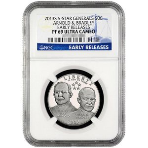 2013 S 5-Star Generals Arnold and Bradley Half Dollar PF69 UC ER NGC Blue Label