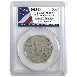 2013 D 5-Star Generals Arnold and Bradley Half Dollar MS69 FS PCGS 5-Star Label