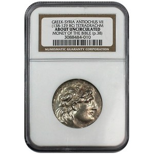 138-129 BC Greek-Syria Antiochus VII  Tetradrachm AU Money of the Bible NGC