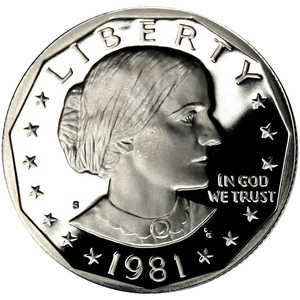 1981 S Susan B Anthony Dollar PF Type 1