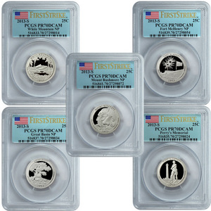 2013 S America the Beautiful Clad Quarters PR70 DCAM FS PCGS 5 Coin Set