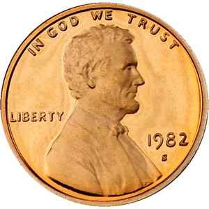 1982 S Lincoln Cent Memorial Reverse PF