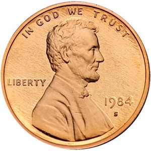 1984 S Lincoln Cent Memorial Reverse PF