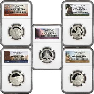 2012 S America The Beautiful Clad Quarters PF69 UC ER NGC 5 Coin Set