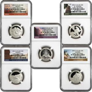 2012 S America The Beautiful Clad Quarters PF70 UC ER NGC 5 Coin Set