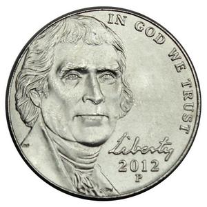 2012 P Jefferson Nickel BU