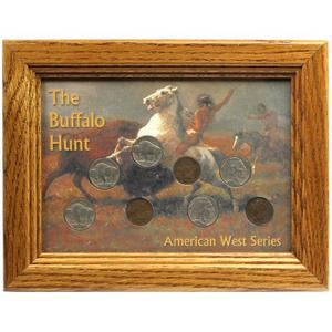 The Buffalo Hunt Frame and Buffalo Nickel & Indian Head Cent Coin Set