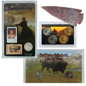 Native American Buffalo Nickel Collection- 8 coins 2 stamps 1 arrowhead