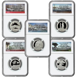 2013 S America the Beautiful Clad Quarter PF70 UC ER NGC 5 Coin Set