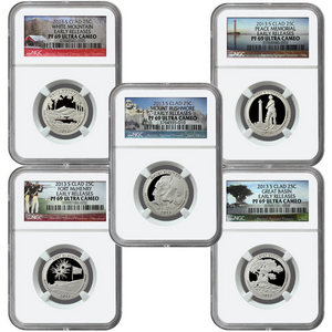 2013 S America the Beautiful Clad Quarter PF69 UC ER NGC 5 Coin Set