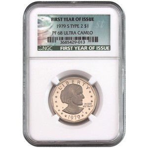 1979 S Susan B Anthony Dollar Type 2 PF68 UC 1st Year of Issue NGC Green Label