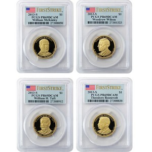 2013 S Presidential Dollars 4pc Set PR69 DCAM FS PCGS Flag Label
