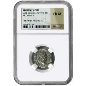 193-211 AD Sept. Severus Roman Empire AR Denarius Ch XF The Seven Hills Hoard NGC Ancients Label