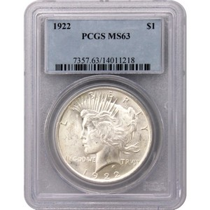 Common Date Peace Silver Dollar MS63 PCGS