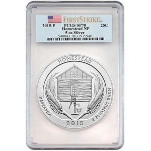 2015 P America the Beautiful Silver 5oz Homestead SP70 FS PCGS Flag Label