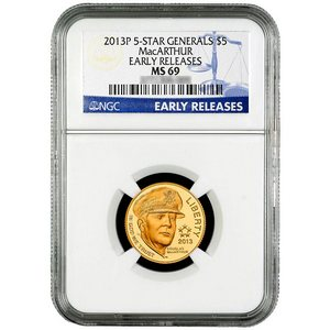 2013 P $5 Gold 5-Star Generals MacArthur MS69 ER NGC Blue Label