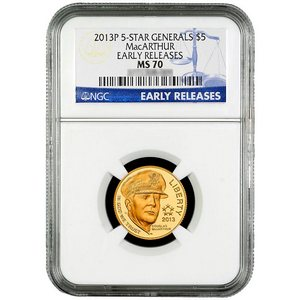 2013 P $5 Gold 5-Star Generals MacArthur MS70 ER NGC Blue Label