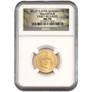 2013 P $5 Gold 5-Star Generals MacArthur MS70 ER NGC Camo Label