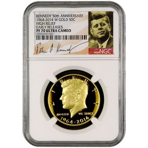 2014 W Kennedy 50th Anniversary Gold High Relief Half Dollar PF70 UC ER NGC White Core