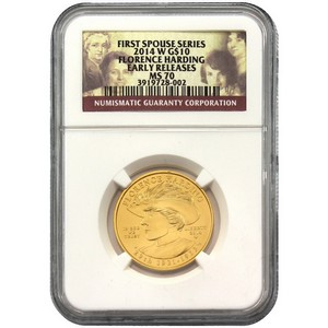 2014 W First Spouse Florence Harding Half Ounce Gold Coin MS70 ER NGC First Spouse Label