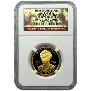 2014 W First Spouse Grace Coolidge Half Ounce Gold Coin PF70 UC ER NGC First Spouse Label